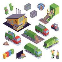 Conjunto de iconos de reciclaje de basura isométrica ilustración vectorial vector