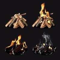 Campfire Phases Realistic Set Vector Illustration