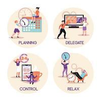Time Management Concept Compositions Vector Illustration