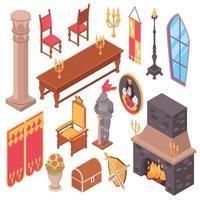 Conjunto de muebles de castillo medieval ilustración vectorial vector
