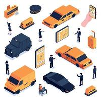 Isometric Taxi Icon Set Vector Illustration