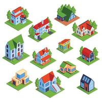 Isometric Town Houses Collection Vector Illustration