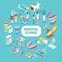 Ilustración de vector de composición isométrica de clínica dental