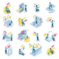 Chatting People Icons Set Vector Illustration
