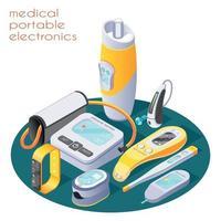 Medical Portable Electronics Composition Vector Illustration
