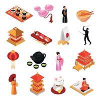 Japan Isometric Icons Set Vector Illustration