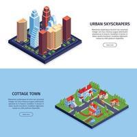 Isometric City Horizontal Banners Vector Illustration