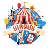 Circus Flat Composition Vector Illustration
