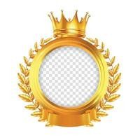 Crown And Laurel Wreath Realistic Frame Vector Illustration