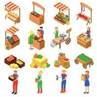 Farmers Market Isometric Set Vector Illustration