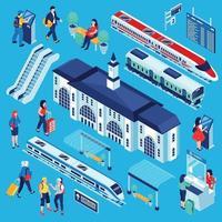 Railway Station Constructor Set Vector Illustration