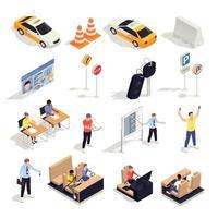 Isometric Drive School Icons Vector Illustration