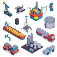 Conjunto de iconos de la industria petrolera de petróleo isométrico ilustración vectorial vector