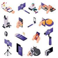 iconos de fotos móviles establecer ilustración vectorial vector