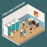 Ilustración de vector de fondo isométrico de la estación de votación