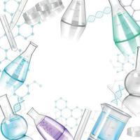 Ilustración de vector de marco realista de cristalería de laboratorio