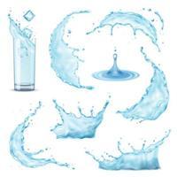 Ilustración de vector de salpicaduras de agua realista 3d