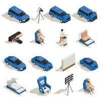 Isometric Crash Test Icons Vector Illustration