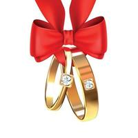Wedding Rings With Red Ribbon Bow Vector Illustration