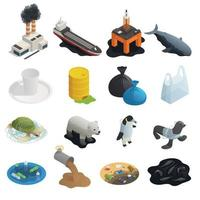 Ocean Pollution Isometric Icons Vector Illustration