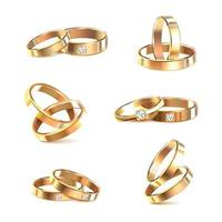 Wedding Rings Realistic Set Vector Illustration
