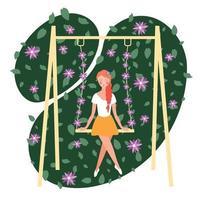 Flower Girl Flat Composition Vector Illustration
