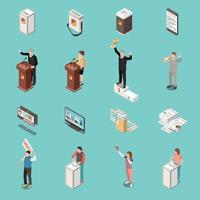 Election Voting Isometric Icons Set Vector Illustration