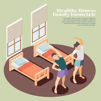 Healthy Fitness Isometric Background Vector Illustration