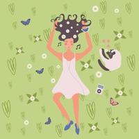 Flower Girls Flat Composition Vector Illustration