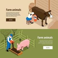 Cattle Farm Isometric Banners Vector Illustration
