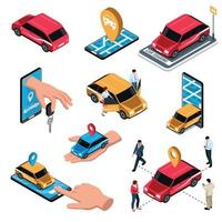 Car Sharing Isometric Set Vector Illustration