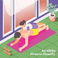 Healthy Family Fitness Isometric Background Vector Illustration