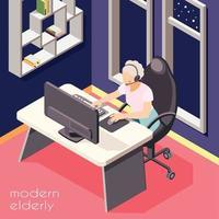 Modern Elderly People Background Vector Illustration