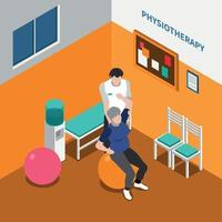 Physiotherapy Rehabilitation Isometric Poster Vector Illustration