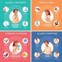 iconos de concepto de alergia establecen ilustración vectorial vector