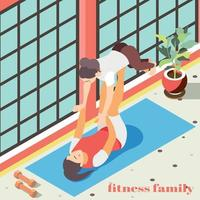 Fitness In Gym Isometric Background Vector Illustration