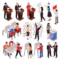 Isometric Election Characters Set Vector Illustration