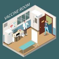 Vaccine Room Isometric Poster Vector Illustration