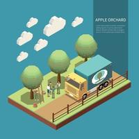 Apple Orchard Isometric Composition Vector Illustration