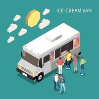 Ice Cream Van Isometric Background Vector Illustration