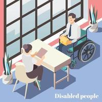 Ilustración de vector de cartel isométrico de personas discapacitadas