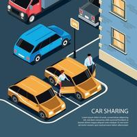 Car Sharing Isometric Composition Vector Illustration