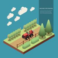 Machine For Spraying Isometric Composition Vector Illustration