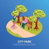 City Park Isometric Composition Vector Illustration