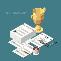 Counting Of Votes Isometric Background Vector Illustration