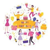 Birthday Flat Composition Vector Illustration