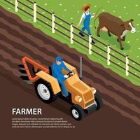 Farmer Ranch Isometric Composition Vector Illustration