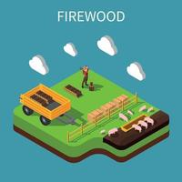 Firewood Isometric Composition Vector Illustration