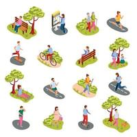 City People Isometric Set Vector Illustration