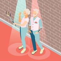 Modern Elderly People Isometric Background Vector Illustration